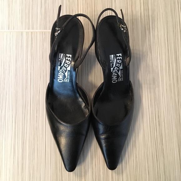 9b45a962ad1 Ferragamo Shoes - Salvatore Ferragamo leather slingback kitten heels